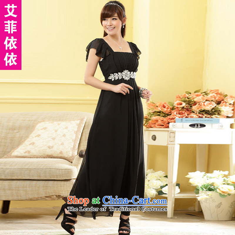 Of the glued to the noble long evening dresses?2015 annual meeting under the auspices of the Korean version of the exquisite grand banquet diamond link foutune rotator cuff black skirt 4,968 Black?XXL code