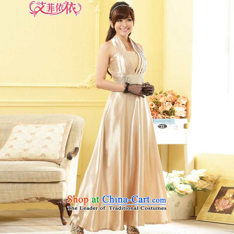 Of the glued to the noble a long gown?2015 annual meeting of the Korean Western Wind banquet hosted performances pearl thin waist dresses 4969 champagne color?XXL code