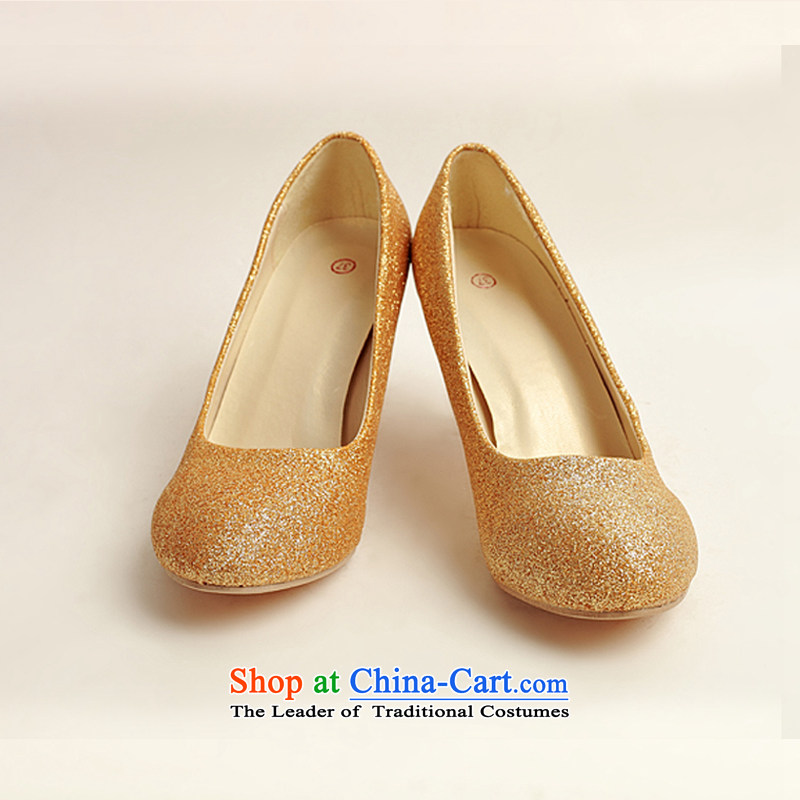 Doi m qi marriage shoes wedding dress shoes shoes bride shoes marriage the the high-heel shoes banquet shoes gold shoe stage performances shoes gold聽38