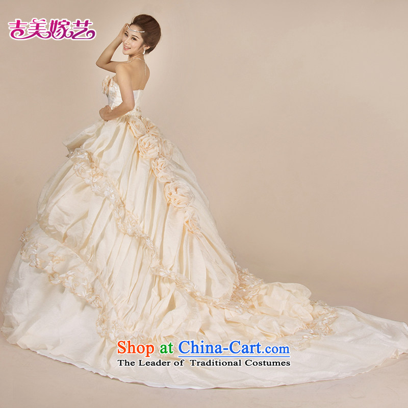 Wedding dress Kyrgyz-american married new anointed arts 2015 Chest Korean wedding HT3557 tail bride wedding champagne color?XL