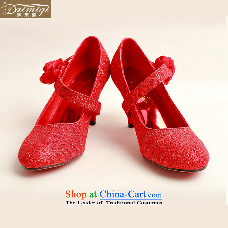 Doi m Qi New Red Toner, single side red rose bride marriage shoes, Photo Album shoes聽DXZ1007 marriage show聽Red聽35