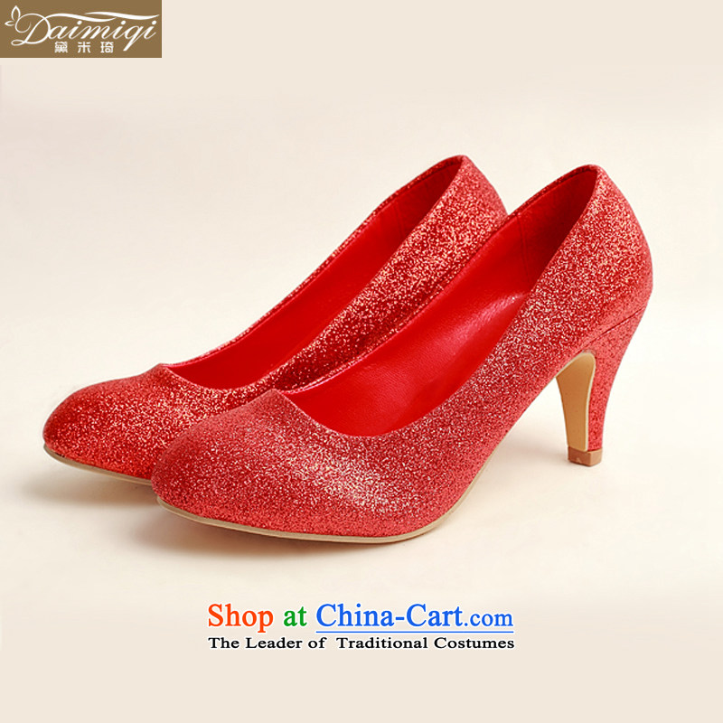 Doi m qi marriage shoes wedding dress shoes shoes bride shoes marriage the the high-heel shoes banquet shoes red shoes stage performances DXZ1008 shoes Red 37