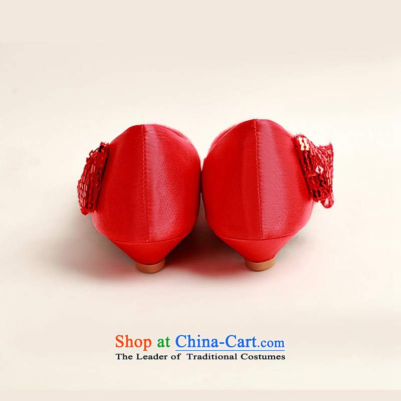 Doi m qi marriages red flash chip side sweet bow tie red shoes, low root marriage, simple, elegant engraving wild DXZ1009 red 35 Demi Moor Qi , , , shopping on the Internet