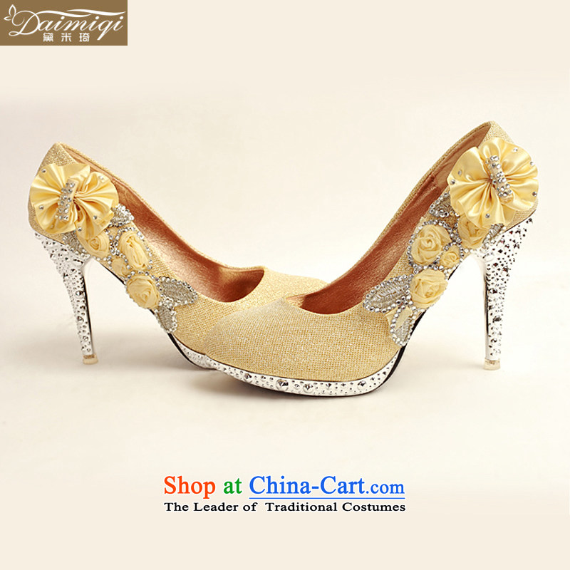 Doi m qi 2014 womens single shoe on the new chip ultra noble water drilling marriage shoes bride shoes gold legrix round head high heels DXZ10014 Golden 38, Demi Moor Qi , , , shopping on the Internet