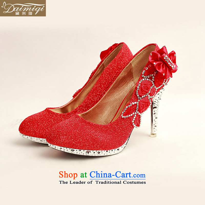 Doi m qi 2014 Women's shoe on the new bride shoes marriage shoes are red, round head side of the flower of the high-heel shoes XZ10015 Red Red?38
