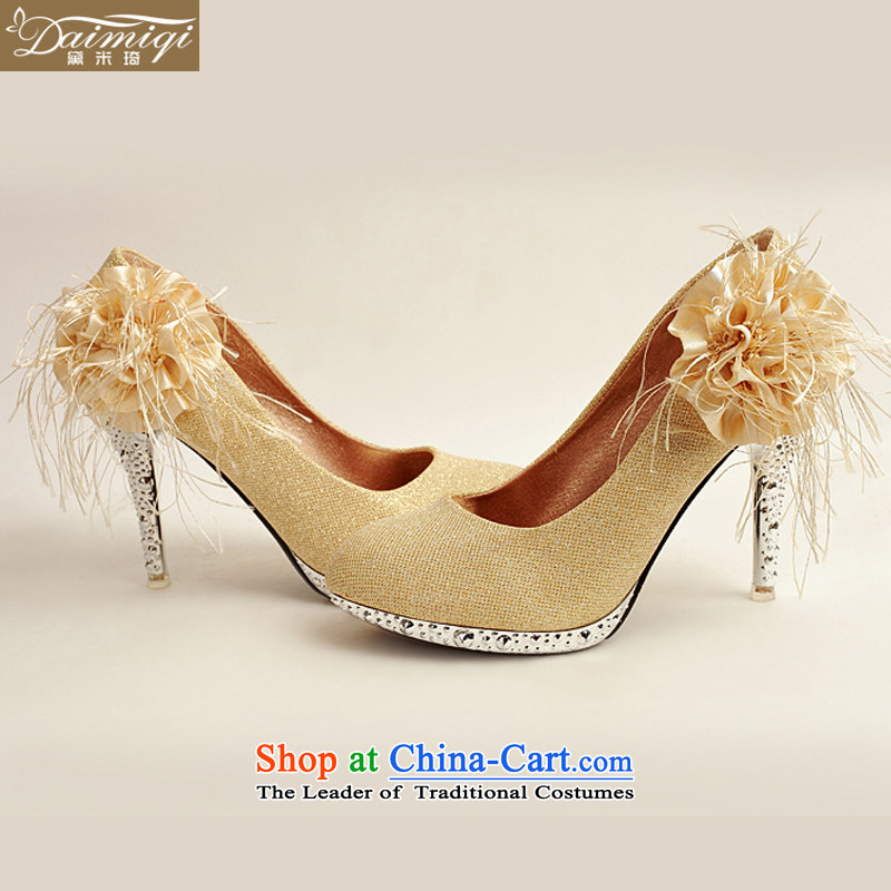 Doi m qi 2014 Women's shoe on the new bride shoes marriage shoes, gold, round head side of the flower of the high-heel shoes XZ10016 Gold Golden聽35