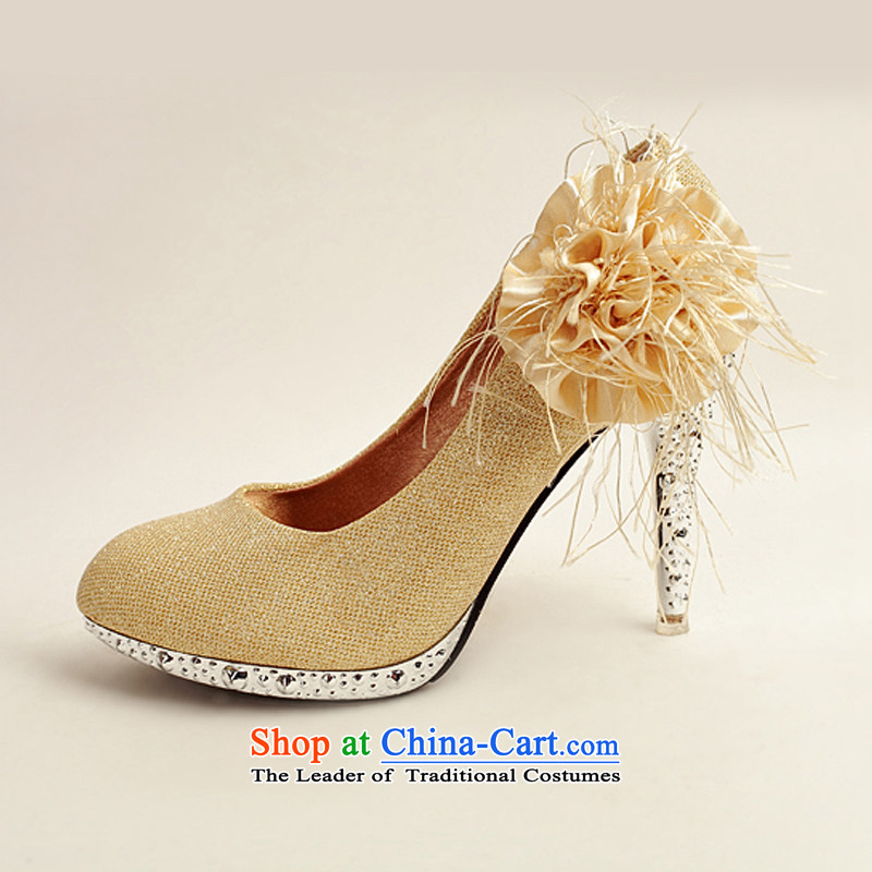 Doi m qi 2014 Women's shoe on the new bride shoes marriage shoes, gold, round head side of the flower of the high-heel shoes XZ10016 Gold Golden 35 Haid é e m Qi , , , shopping on the Internet