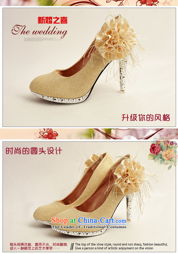 Doi m qi 2014 Women's shoe on the new bride shoes marriage shoes, gold, round head side of the flower of the high-heel shoes XZ10016 Gold Golden聽35 pictures, prices, brand platters! The elections are supplied in the national character of distribution, so action, buy now enjoy more preferential! As soon as possible.