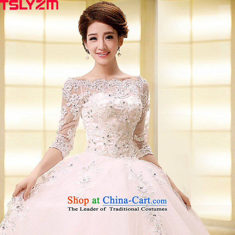 Align the shoulder of the word tslyzm to drag the tail wedding dresses 2015 autumn and winter in new long-sleeved marriages water drilling lace skirt to align the white?M
