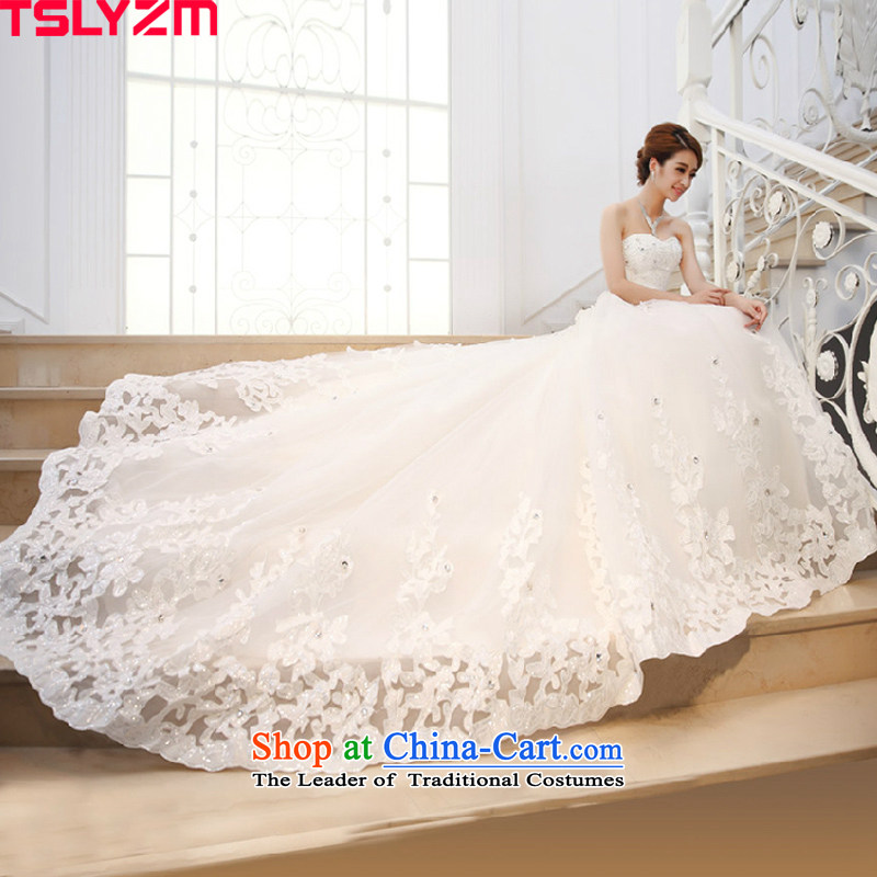 Tail-long tail wedding dresses new 2015 autumn and winter video thin bride anointed chest diamond jewelry luxurious white?M