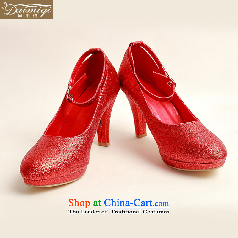 Doi m qi marriage shoes winter red high-single shoe 2014 new women's red high heels with fine? DXZ10022?Red?37