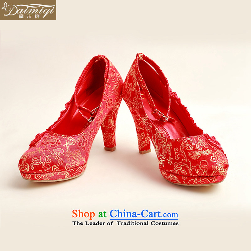 Doi m qi 2014 new pattern of marriage shoes wedding shoes bride marriage with rough shoes banquet shoes and a pair of red high-female single shoe DXZ10025 Red聽35