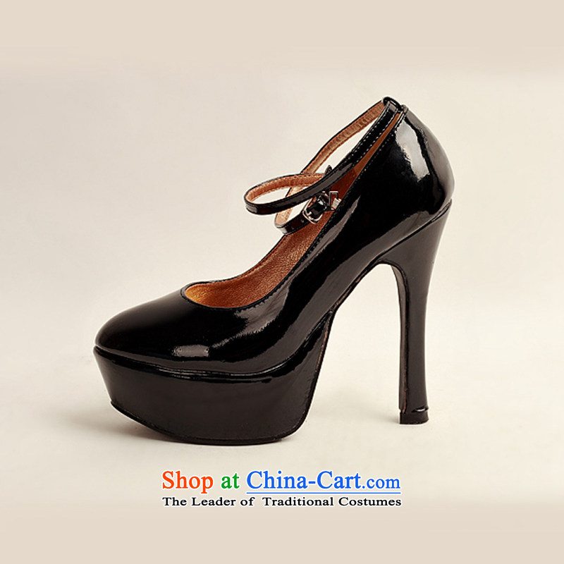 Doi m qi 2014 womens single new varnished leather shoes, smooth sparkling, luxury waterproof shoes marriage bride desktop black shoes, round head high heels black 35 Haid é e m Qi , , , shopping on the Internet
