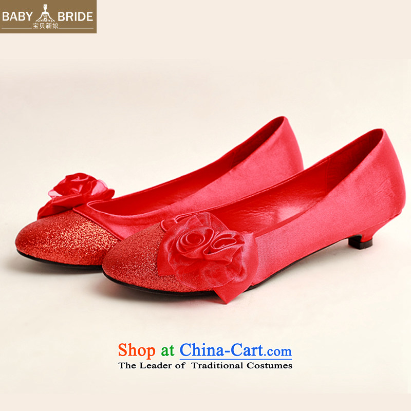 The Korean version of the bride treasure marriage shoes Red flat bottom shoe marriage shoes wedding marriage shoes heel shoe qipao shoes low larger single shoe red red pregnant women 35