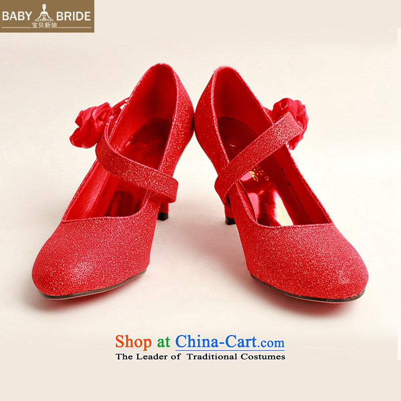 The new bride treasure Red Toner, single side red rose bride marriage shoes, Photo Album shoes?DXZ1007 marriage show?Red?36