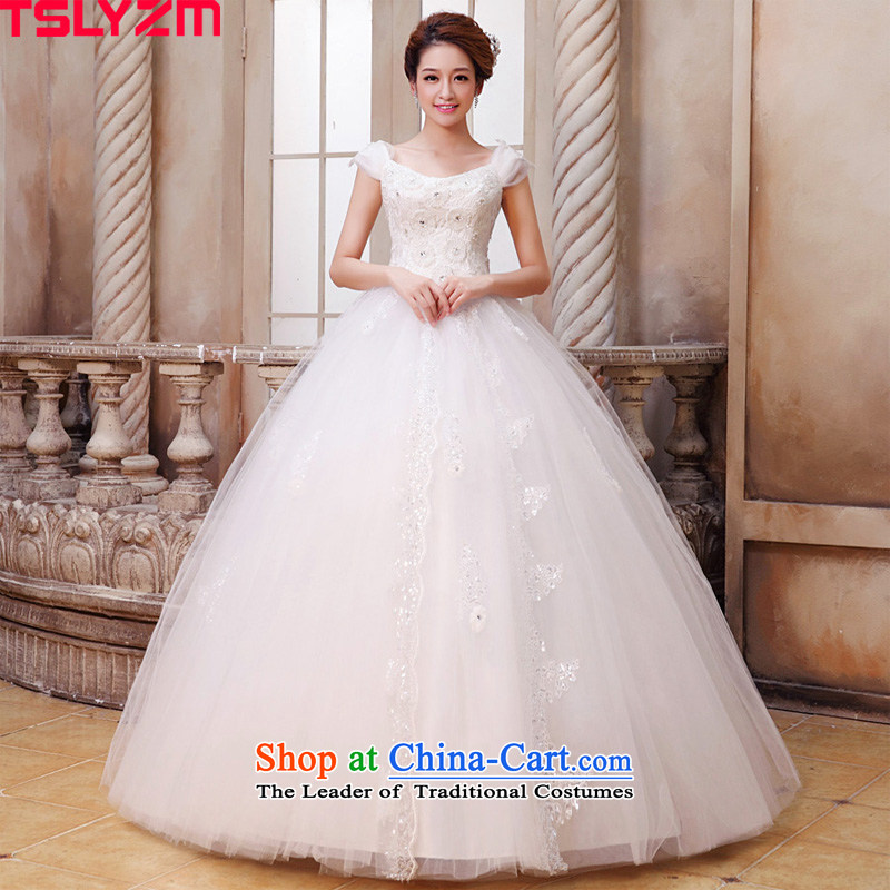 Tslyzm2015 new autumn and winter Korean word shoulder sweet flowers to align the large number of Princess Margaret thick wedding dresses mm beaded shoulders pregnant women wedding white?XS