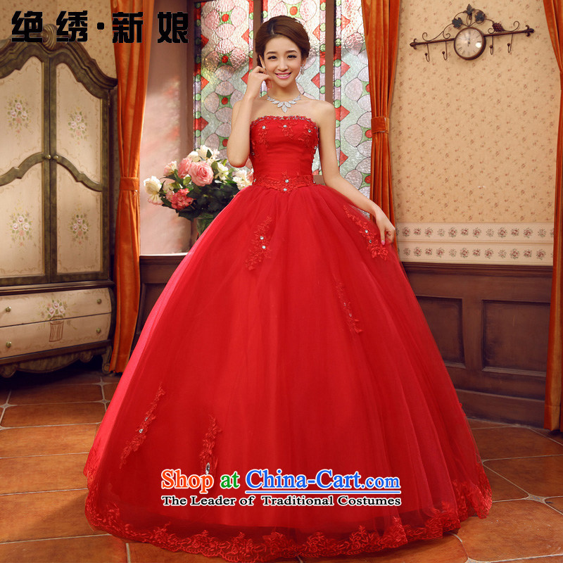The Bride Lace Embroidery is wiping the Chest Korean brides wedding dresses 2015 new spring and summer tie twine bow knot red?L Code Suzhou Shipment