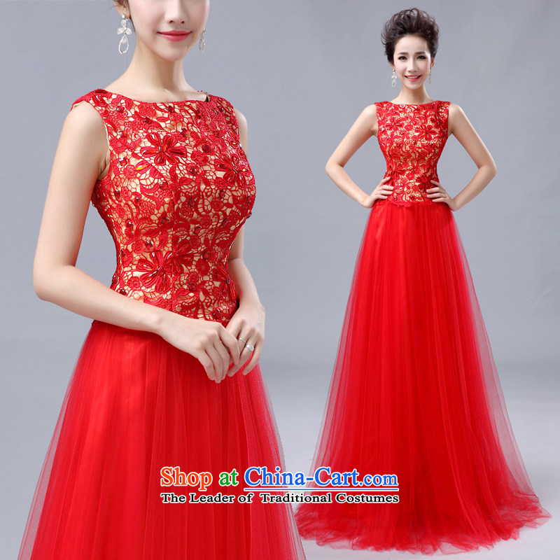 Shared the new bride guijin2014 Keun-young wedding dress irrepressible embroidery spent more stylish long evening dresses 6 large red?L code from Suzhou Shipment