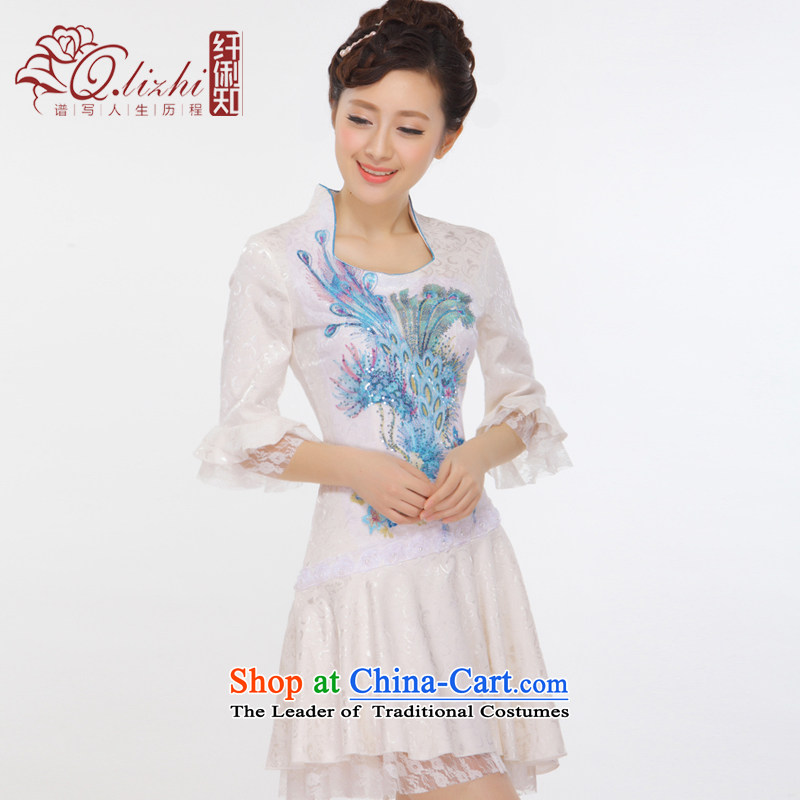 The former Yugoslavia Li aware of spring and summer 2015 New China wind Pearl Lace Embroidery Princess cuff retro improved stylish Phoenix cheongsam dress聽QLZ15Q6011聽BLUE聽S