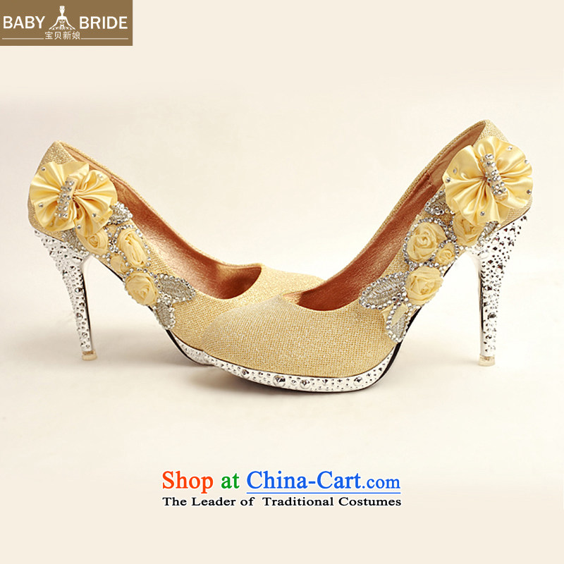 Baby girl single shoes bride 2014 new on-chip ultra-high water drilling marriage shoes bride shoes gold legrix round head high heels DXZ10014 Golden聽37