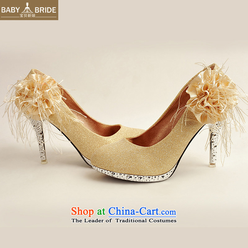 Baby girl single shoes bride 2014 new on-chip bride shoes marriage shoes gold, round head side of the flower of the high-heel shoes XZ10016 Gold Golden聽36