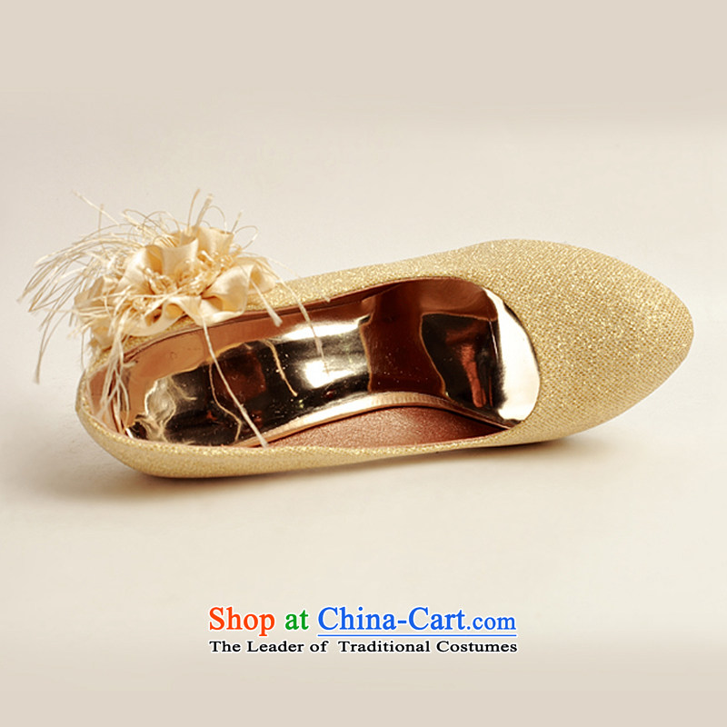 Baby girl single shoes bride 2014 new on-chip bride shoes marriage shoes gold, round head side of the flower of the high-heel shoes XZ10016 gold golden Treasure Bride (36) has been pressed BPIDEB BABY shopping on the Internet