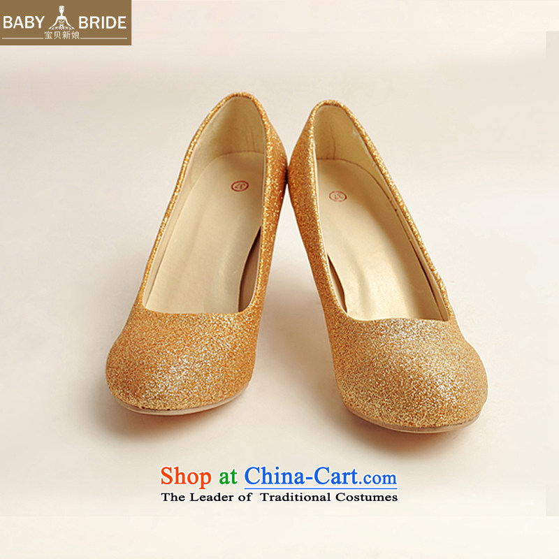 Baby marriages shoes wedding dress shoes shoes bride shoes marriage the the high-heel shoes banquet shoes gold shoe stage performances XZ10020 gold shoe Golden 37