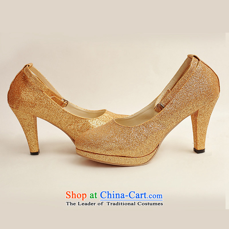 Baby marriages shoes wedding dress shoes shoes bride shoes marriage the the high-heel shoes banquet shoes gold shoe stage performances XZ10020 gold shoe golden Treasure Bride (37, BABY BPIDEB) , , , shopping on the Internet