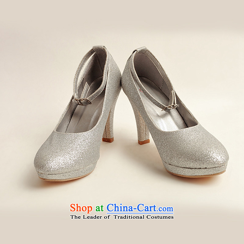Baby bride marriage the the high-heel shoes winter silver single shoe 2014 new women's silver high heels with fine?silver?38?Silver?38 DXZ10021