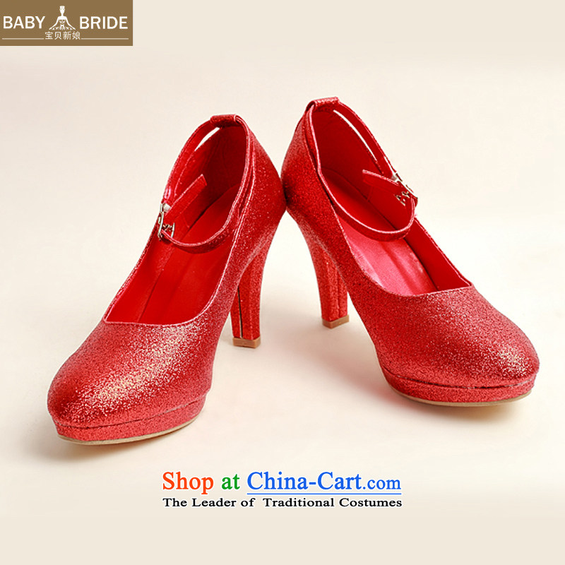 Baby bride marriage shoes winter red high-single shoe 2014 new women's red high heels with fine?red red?37 DXZ10022