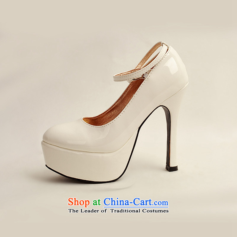 The 2014 womens single new varnished leather shoes, smooth sparkling, luxury waterproof shoes marriage bride desktop white shoes, round head high heels white35 baby Bride (BABY BPIDEB) , , , shopping on the Internet