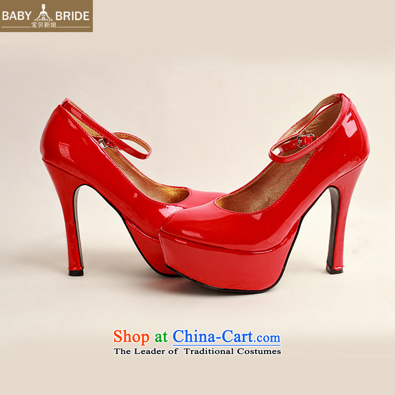 The 2014 womens single new varnished leather shoes, smooth sparkling, luxury waterproof shoes marriage bride desktop red shoes, round head high heels Red Red聽36