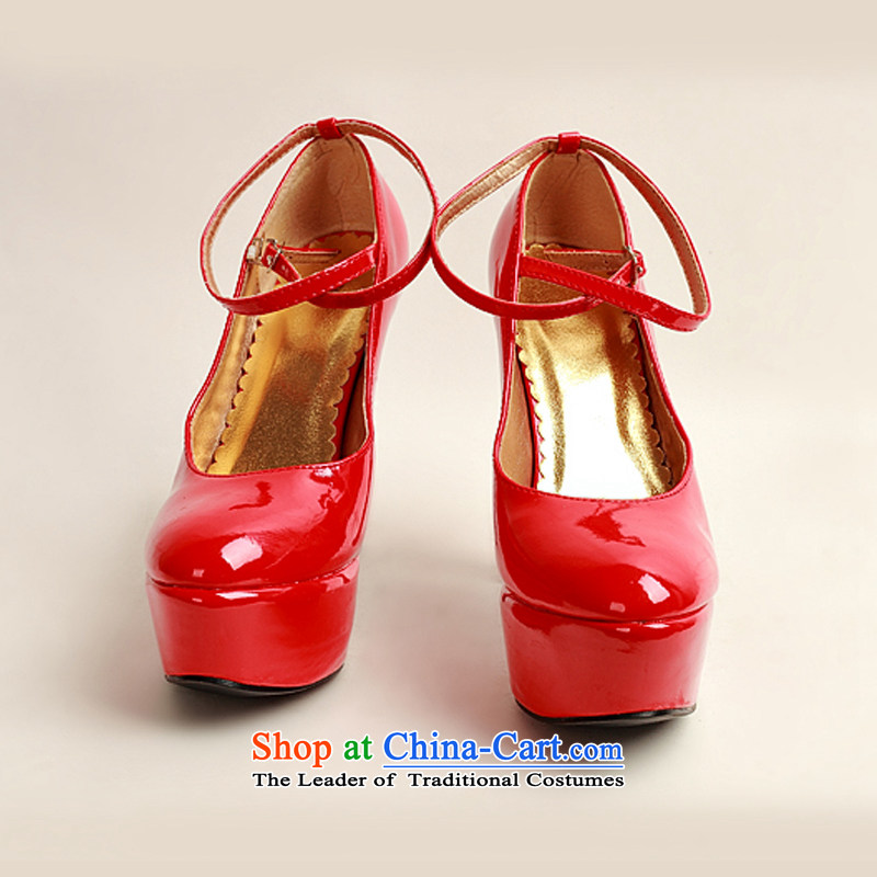 The 2014 womens single new varnished leather shoes, smooth sparkling, luxury waterproof shoes marriage bride desktop red shoes, round head high heels red red36, darling Bride (BABY BPIDEB) , , , shopping on the Internet