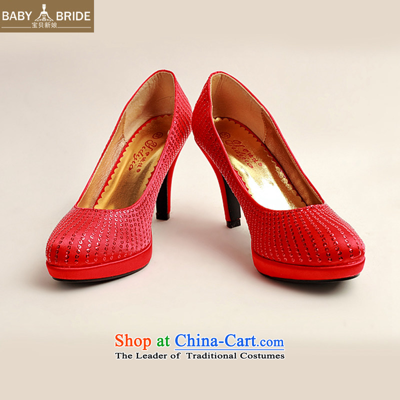 The Korean version of the bride treasure the the high-heel shoes large Code Red marriage marriage shoes bride shoes 2014 new women's shoe DXZ10030 Single Red Red聽38