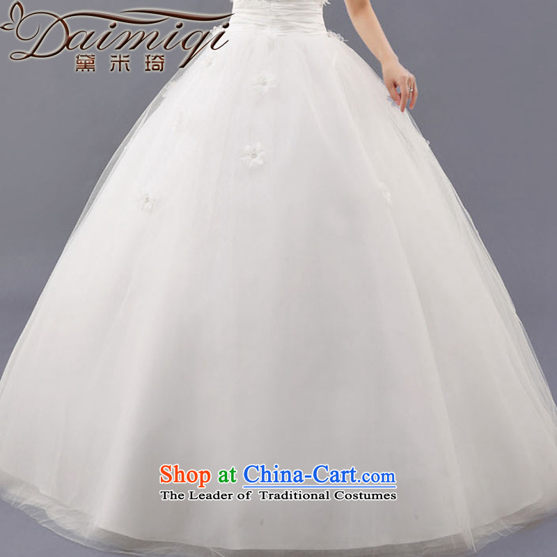 Doi m qi flowers wedding wedding dresses 2014 new Korean sweet princess shoulder straps flowers to bind with a white align M Demi Moor Qi , , , shopping on the Internet
