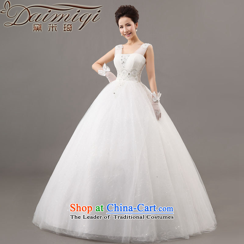 Doi m qi?2014 new stylish wedding dress Korea Version V-neck to align the shoulder larger Sau San diamond strap lace retro white?S