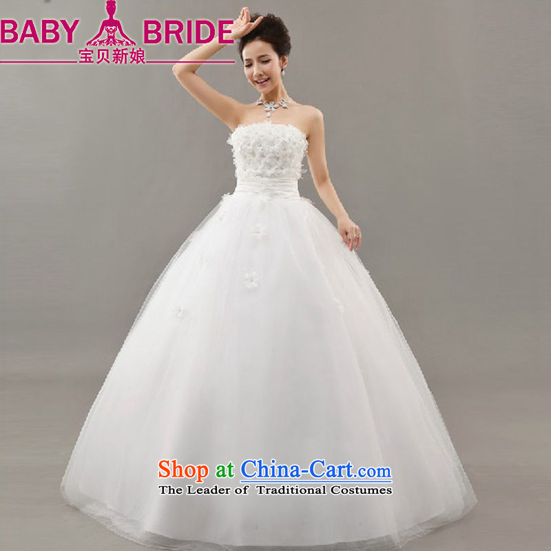 Baby bride flowers wedding wedding dresses 2014 new Korean sweet princess shoulder straps flowers to bind with a white line�S