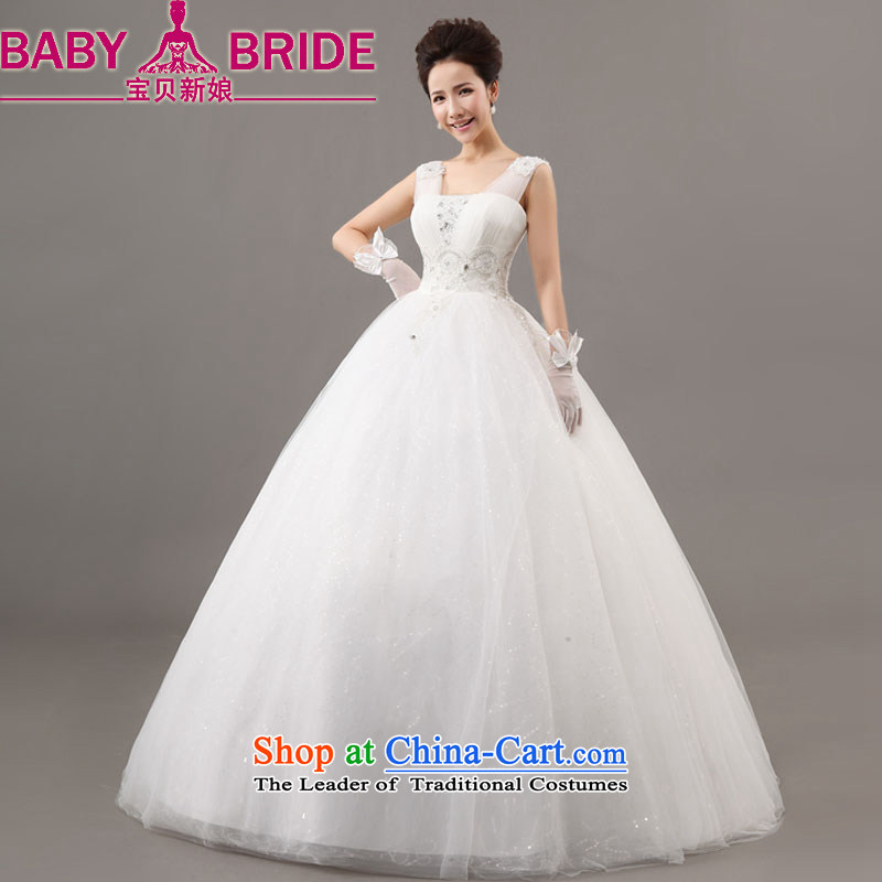 Baby bride wedding new spring 2014 Korean brides white field shoulder binding betrothal yarn large wedding to align the long white S