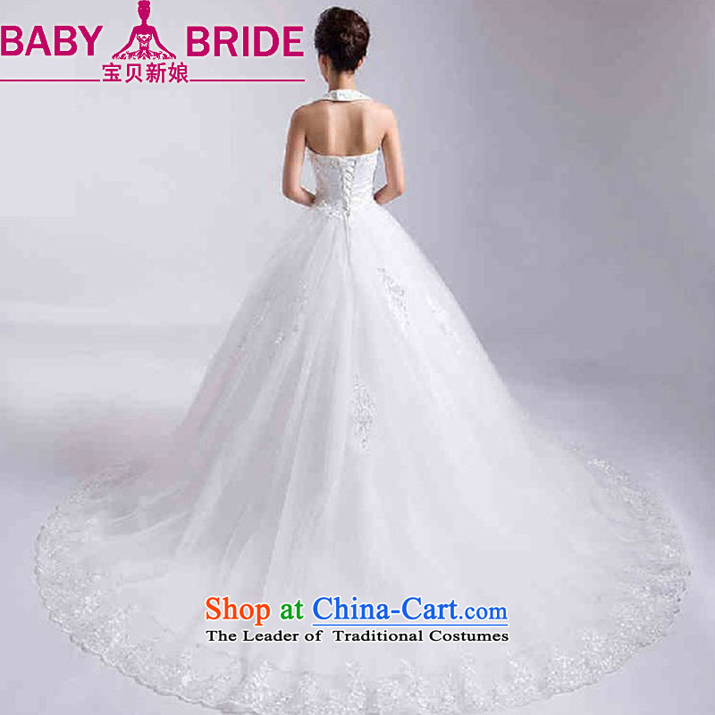 Baby bride tail Wedding 2014 new winter Korean white wall also larger straps wedding bride wedding dress white�L