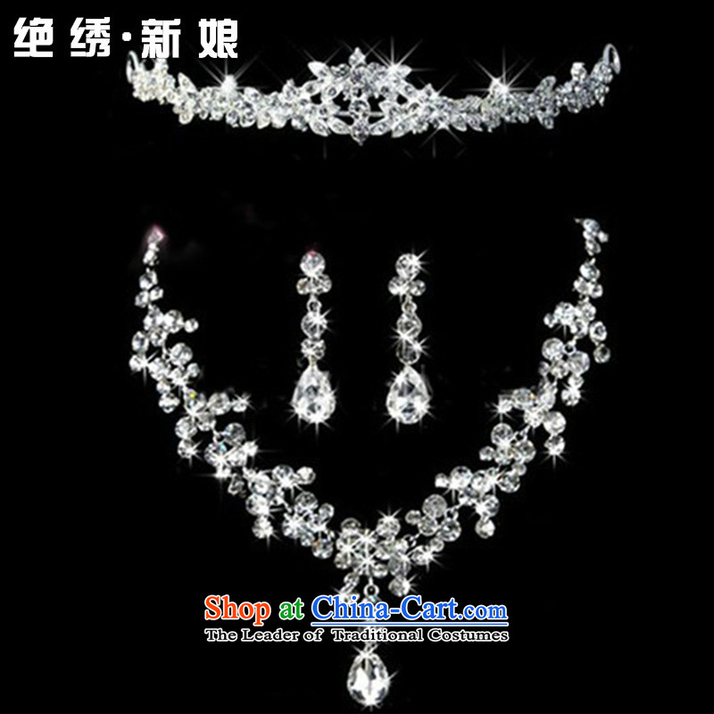 Embroidered bride water drilling is accessories kit bride jewelry Korean style wedding crown necklace earrings three piece necklaces, earrings Ear Clip Suzhou Shipment