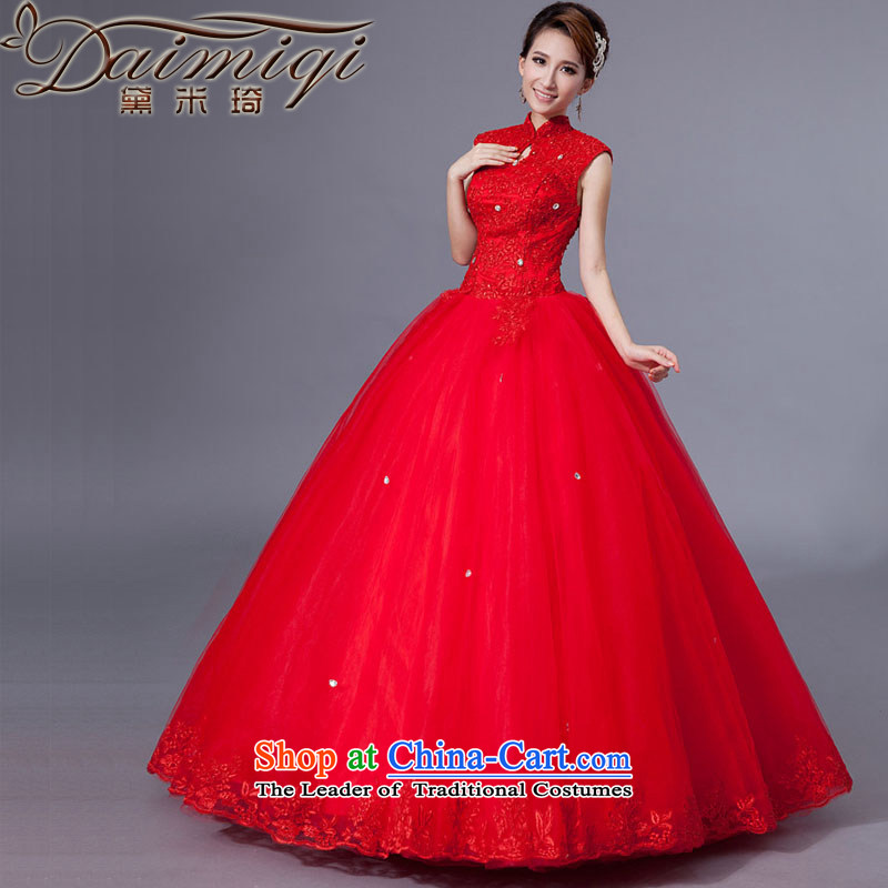 Doi m qi red wedding dresses bride new spring hook-history 2014 To align graphics thin package shoulder straps lace retro large red?XL