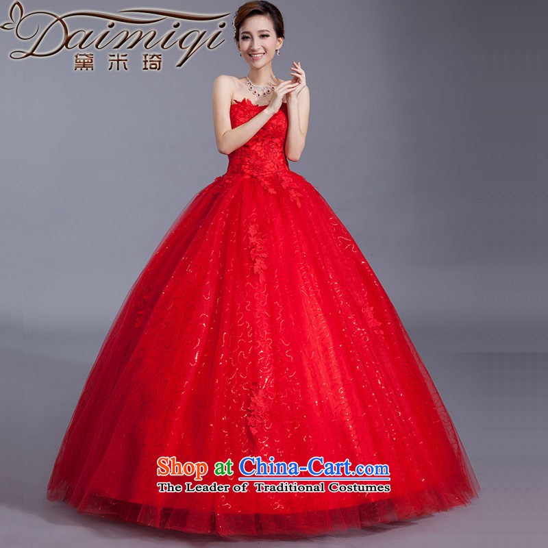 Doi m qi red wedding dresses lace new stylish bride Korean 2014 align to Sau San larger straps retro graphics thin red XXL