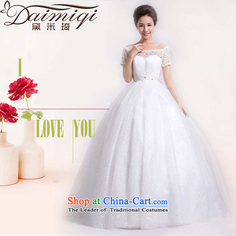 Doi m qi bride wedding dresses Korean version of the new Word 2014 to align the shoulder graphics thin wedding lace retro Sau San white聽L
