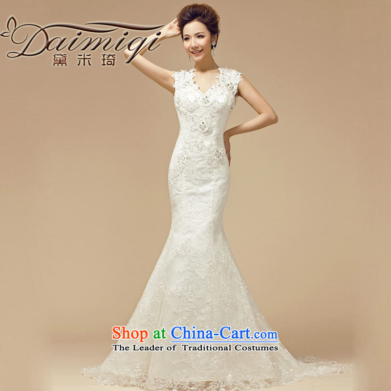 Doi m qi wedding dresses new 2014 Winter Korean marriages white package shoulder Diamond Video thin tail wedding white L