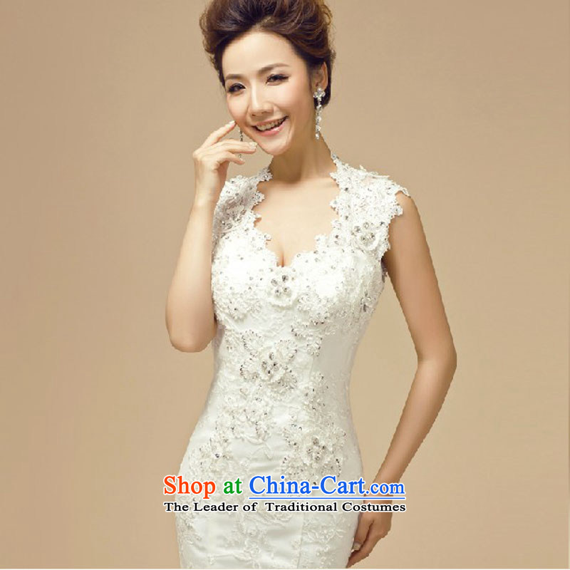 Doi m qi wedding dresses new 2014 Winter Korean marriages white package shoulder Diamond Video thin trailing white wedding , L, M Qi , , , diana shopping on the Internet