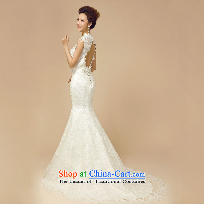 Doi m qi wedding dresses new 2014 Winter Korean marriages white package shoulder Diamond Video thin trailing white wedding, L, M Qi , , , diana shopping on the Internet
