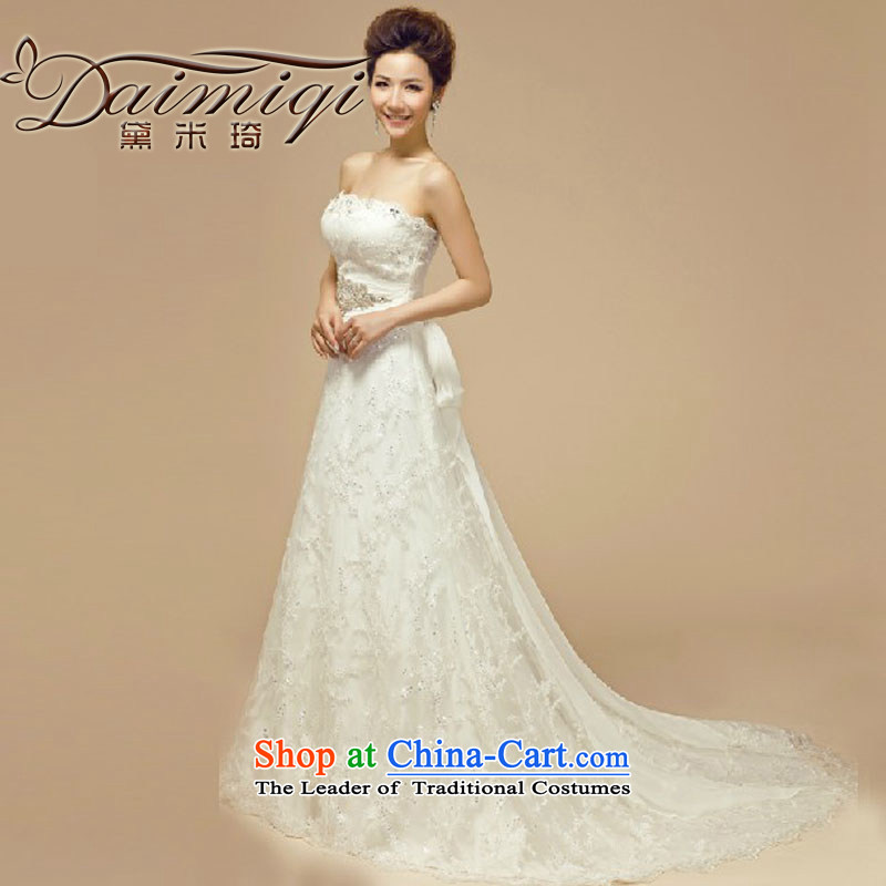 Doi m qi bride wedding dresses 2014 new Korean version of large numbers of marriage with his chest deluxe tail wedding pregnant women White?XL