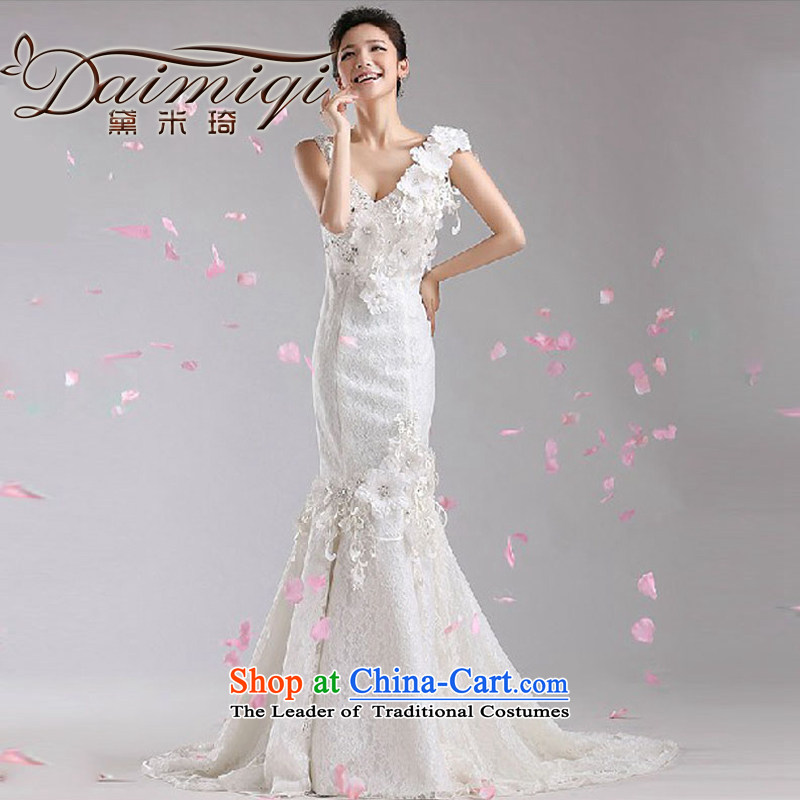Doi m qi tail Wedding 2014 new Korean white spring and summer marriages lace v-neck crowsfoot wedding dresses White?XXL