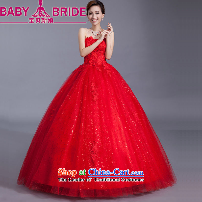 Baby bride wedding dresses red lace new stylish bride Korean 2014 align to Sau San larger straps retro graphics thin red聽L