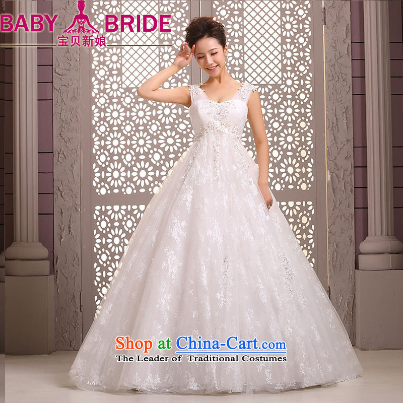 Baby bride wedding dresses new 2014 Korean marriages shoulders to align the diamond wedding dresses, white winter pregnant women?XL